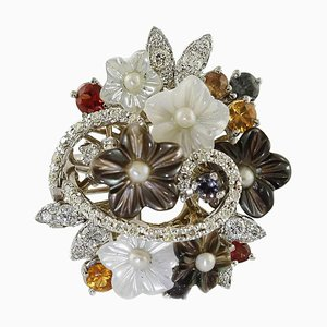 Handcrafted Flowers Ring with Diamond, Multi-Color Sapphire and Pearls