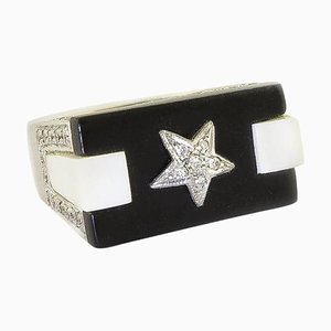 Handcrafted Star Ring with Onyx White Agate Diamonds and White Gold