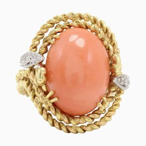 Handcrafted Dome Ring in Diamond & Coral