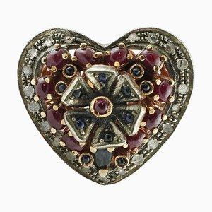 Bague Coeur Artisanale en Or Rose et Argent avec Diamant, Rubis 3.45 Carat et Saphir Bleu