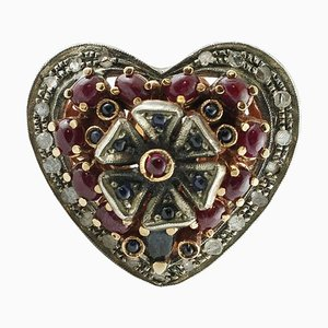 Handcrafted Rose Gold & Silver Heart Ring with Diamond, 3.45 Carat Rubies and Blue Sapphire