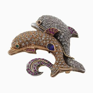 Handcrafted Dolphin Brooch or Pendant with Ruby, Sapphire, Diamond, Gold and Silver
