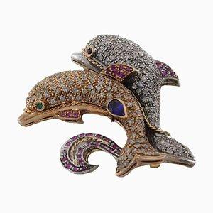 Handgefertigte Delfin Brosche oder Anhänger mit Rubin, Saphir, Diamant, Gold und Silber