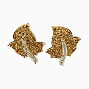 Handcrafted Topaz Diamond and Gold Earrings, Set of 2