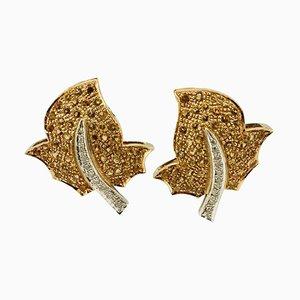 Handgefertigte Topas Diamant und Gold Ohrringe, 2er Set