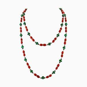 Collier Multirang Artisanal avec Diamant, Onyx, Agate Verte, Corail Rouge et Or Blanc