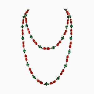 Handcrafted Multi-Strand Necklace with Diamond, Onyx, Green Agate, Red Coral & White Gold