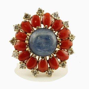 Diamant, Ovaler Ring aus Roter Koralle, Kyanit & 14 Karat Roségold mit Blumen