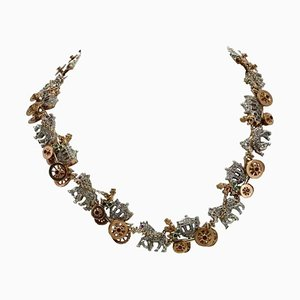 Collier Ras du Cou Artisanal avec Emeraude, Rubis, Diamant et Or Rose