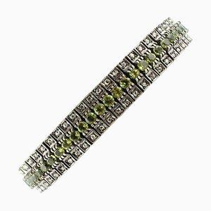 Handgefertigtes Armband aus grünem Peridot im Rosenschliff, Roségold und Silber