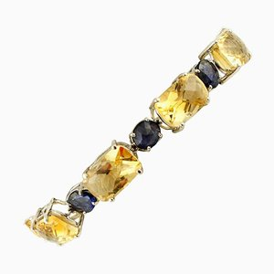 Handcrafted Bracelet with Diamonds, Sapphire, Yellow Topaz and 14 Karat White Gold.