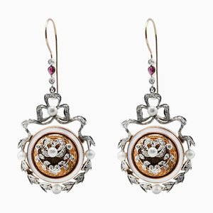 Handcrafted Enamel Diamond, Ruby, Pearl, 14 Karat White and Rose Gold Earrings, Set of 2