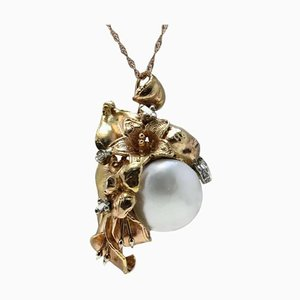 Collier ou Pendentif en Or Rose, Diamant et Perle Baroque