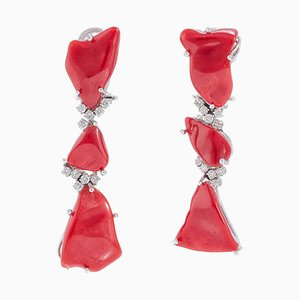 Handcrafted Earrings with White Diamond and Red Coral, Set of 2