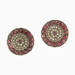 Ohrringe mit Rubinen, Diamanten, Roségold und Silber, 2er Set