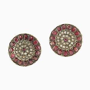 Rubies, Diamonds, Rose Gold and Silver Earrings, Set of 2