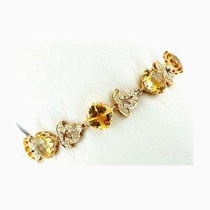 Handgefertigtes Armband aus 14 Karat Gelbgold mit Diamant, Gelbem Topas und Diamanten