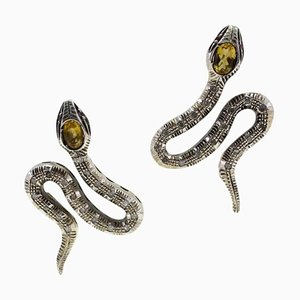 Handcrafted Snake Earrings with Diamond, Topaz, 9 Karat Yellow Gold and Silver., Set of 2
