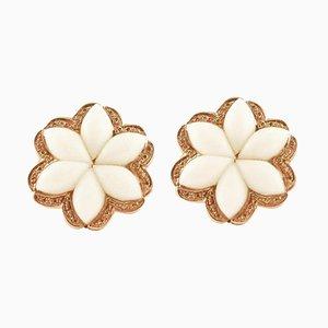 Boucles d'Oreilles Clip-on Artisanales Fleurs de Corail Blanc, Diamants et Or Rose 14K, Set de 2