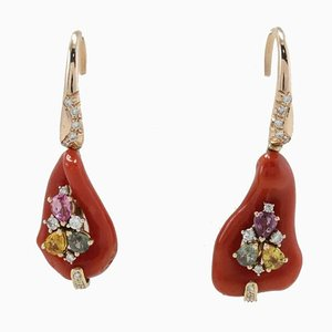 Handcrafted Level Back Earrings with Diamonds, Multi Colored Sapphires, Red Corals and 14 Karat Rose Gold, Set of 2