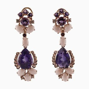 Handcrafted Clip-On Earrings with Diamonds, Amethysts, Pink Coral and 14k Rose Gold, Set of 2
