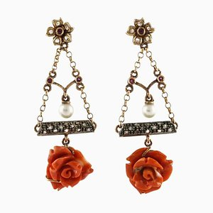 Handcrafted Flower Earrings with Red Coral Flowers, Diamonds, Pearls, Rubies,14 Karat Rose Gold and Silver, Set of 2