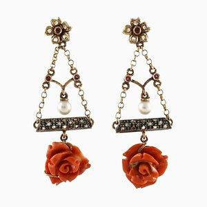 Orecchini floreali fatti a mano con fiori in corallo rosso, diamanti, perle, rubini, oro rosa 14 carati e argento, set di 2