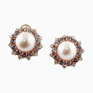 Handgefertigte Ohrringe aus Diamanten, Iolith, Perlen, Silber und 9 Karat Roségold, 2er Set