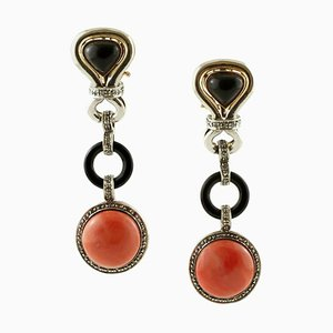 Handcrafted Dangle Earrings with Diamonds, Onyx, Red Coral and 14 Karat Rose Gold and Silver, Set of 2