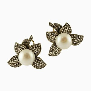 Handcrafted Earrings Pearl, Diamonds, 14 Karat Yellow Gold and Silver., Set of Nan