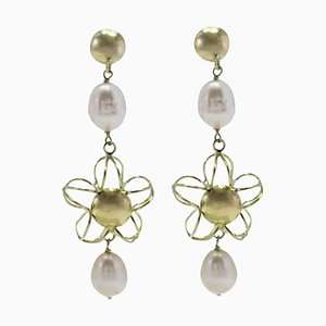 Handcrafted Dangle Earrings with Pearl and 18 Karat Yellow Gold, Set of 2