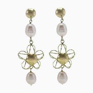 Handgefertigte Hängeohrringe mit Perle und 18 Karat Gelbgold, 2er Set