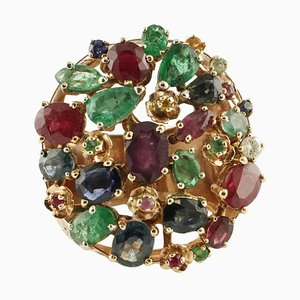Handcrafted Gold, Diamond, Ruby, Sapphire and Emerald Cluster Ring