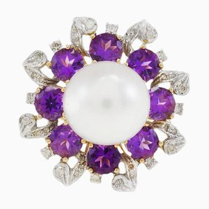 Handcrafted Gold Gerbera Daisy Ring with Diamond, Pearl and Hydro Amethyst