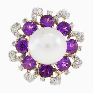 Handgefertigter Gold Gerbera Ring mit Diamant, Perle und Hydro Amethyst