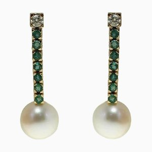 Handcrafted Dangle Earrings in 0.70 Ct Diamond, 2.09 Ct Emerald and 8 G Australian Pearl Rose Gold, Set of 2