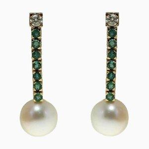 Orecchini pendenti fatti a mano con diamanti 0,70 Ct, smeraldo 2,09 Ct e perla australiana 8 G in oro, set di 2