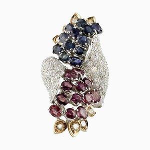 Bague Artisanale en Diamant, Rubis, Saphir et Raisins en Or Blanc et Rose