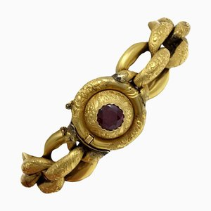 Bracelet Chaîne Artisanal avec Grenat et Or Jaune 18 Carats