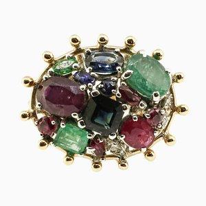 Bague Cluster Artisanale avec Saphir, Rubis, Emeraude, Diamant et Or Jaune 14 Carat