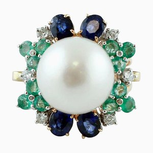 Handcrafted Cluster Ring with White Diamonds, Blue Sapphire, Emeralds, White Pearl and 14Kt Rose Gold