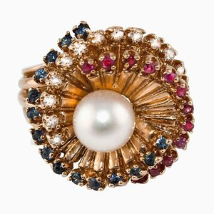 Diamond, Sapphire, Rubies, Pearl and 14 Karat Rose Gold Spiral Ring