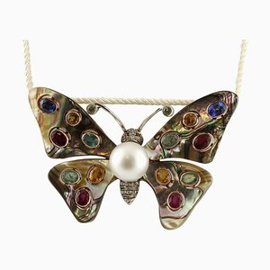 Handcrafted Butterfly Brooch with Australian Pearl, Diamond, Emeralds, Rubies, Sapphire, 9K Gold and Silver