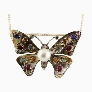 Handgefertigte Schmetterling Brosche mit australischer Perle, Diamant, Smaragden, Rubinen, Saphir, 9 Karat Gold und Silber