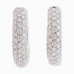 Boucles d'Oreilles Diamants et Or Blanc 18 Carat, Set de 2