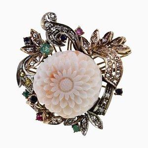 Handgefertigter Cocktail Ring mit Diamant, Saphir, Rubin, Smaragd, Koralle, 9 Karat Gelbgold und Silber