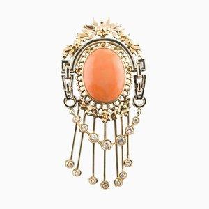 Spilla artigianale con diamante, corallo arancione e oro rosa a 14 carati