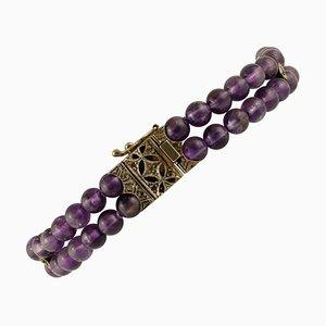 Handgefertigtes Perlenarmband aus 16.7 G Amethysten, Diamanten, 9 Karat Rose, Gold und Silber.