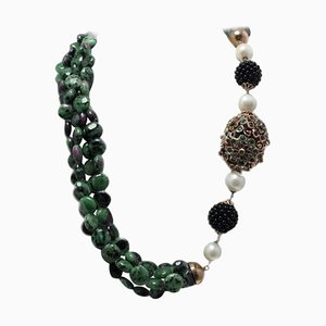 Handcrafted Necklace with Sapphire, Onyx, Zoisite, Emeralds, Rubies, Pearl, 9 Karat Rose Gold and Silver