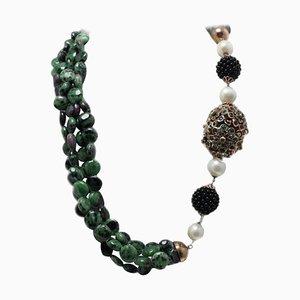 Handgefertigte Halskette mit Saphir, Onyx, Zoisit, Smaragden, Rubinen, Perlen, 9 Karat Roségold und Silber